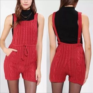 UNIF red rust knit overtail romper NWT HTF DB8